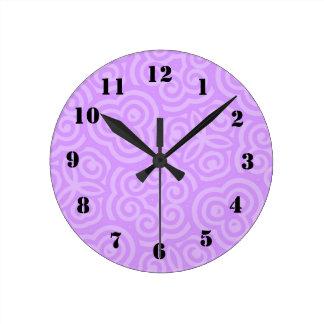 Purple Abstract Pattern Wallclocks