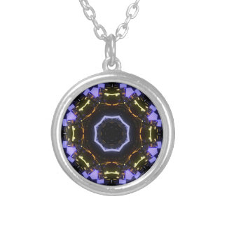 Purple abstract silver plated necklace