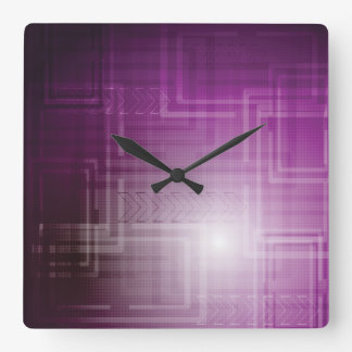 Purple Abstract Tech Print Square Wall Clock