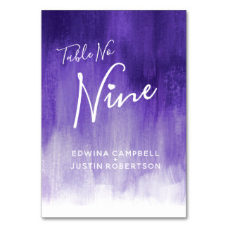 Purple abstract wash modern art table number nine