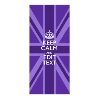 Purple Accent Keep Calm And Your Text Union Jack Rack Card Design