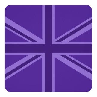 Purple Accent Union Jack Decor 13 Cm X 13 Cm Square Invitation Card