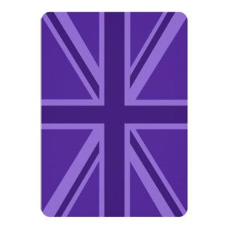 Purple Accent Union Jack Decor 13 Cm X 18 Cm Invitation Card