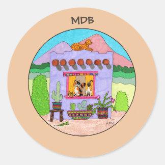 Purple Adobe House & Four Cats Custom Monogram Classic Round Sticker