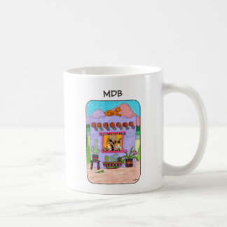 Purple Adobe House & Four Cats Custom Monogram Coffee Mug