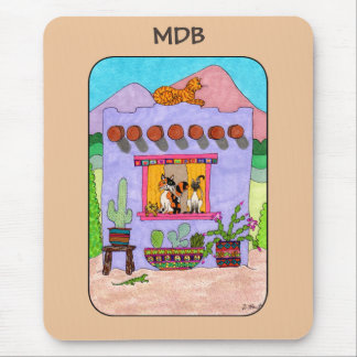 Purple Adobe House & Four Cats Custom Monogram Mouse Pad