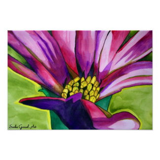 Purple African daisy flower watercolor art Poster