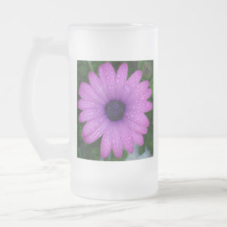 Purple African Daisy with Raindrops Frosted Glass Beer Mug