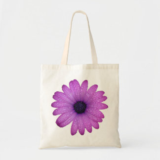 Purple African Daisy with Raindrops Isolated Tote Bag