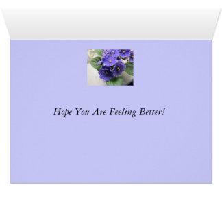 Purple African Violet Flowers Card