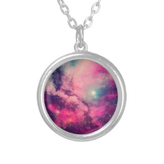Purple Afterglow Galaxy Silver Plated Necklace