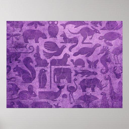 Purple Aged and Worn Animal Kingdom Pattern Print