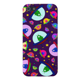 Purple alien spaceship pattern cover for iPhone 5/5S
