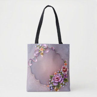 Purple All-Over-Print Tote Bag, Medium