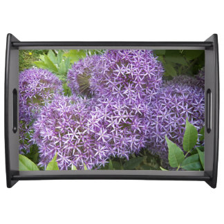 Purple Allium Blooms Floral Serving Tray