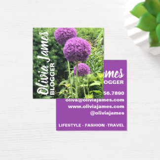 Purple Allium Flowers Floral Nature Photography Square Business Card