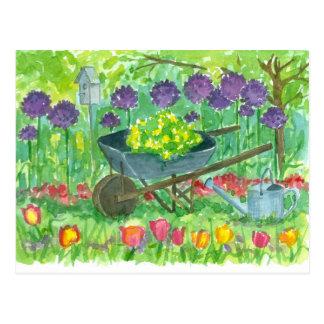 Purple Allium Flowers Wheelbarrow Watercolor Postcard