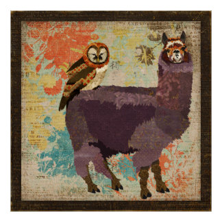 Purple Alpaca & Amber Owl Art Poster