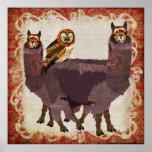Purple Alpacas Amber Owl Art Poster