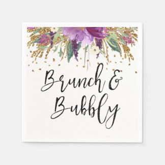 Purple Amethyst Brunch and Bubbly Bridal Shower Disposable Napkin