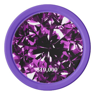 Purple Amethyst Diamond Gem Stone Poker Chip