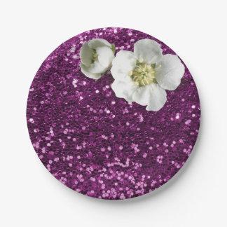 Purple Amethyst Floral White Jasmine Glitter Paper Plate
