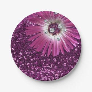 Purple Amethyst Flower Diamond Gerbera Glitter Paper Plate