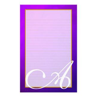 Purple Amethyst Monogram Fine Lined Stationery Stationery Paper