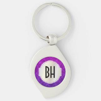 Purple Amethyst Ornate Damask Grunge Texture Silver-Colored Swirl Key Ring