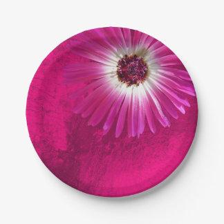 Purple Amethyst Pink Rose Flower Gerbera Metallic Paper Plate