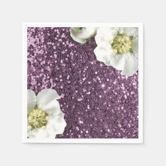 Purple Amethyst Sparkly  Jasmine Glitter Sequin Disposable Napkin