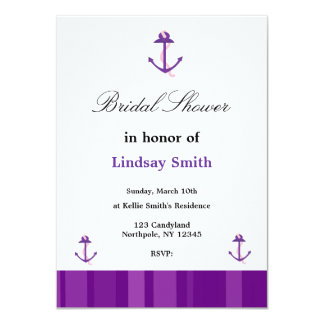 Purple Anchor Bridal Shower Invitation