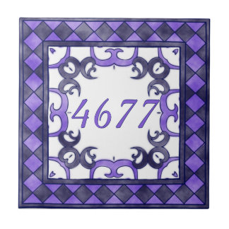 Purple and  Anthracite Small House Number Ceramic Tile