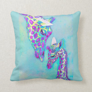purple and aqua giraffes pillow