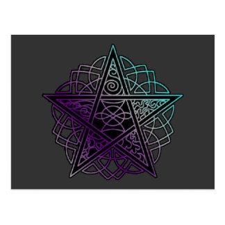 Purple and aqua intricate pentacle postcard