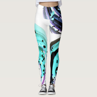 Purple and Aqua Swirl Leggings