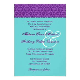 Purple and Aqua Vintage  Damask Wedding Monogram 13 Cm X 18 Cm Invitation Card