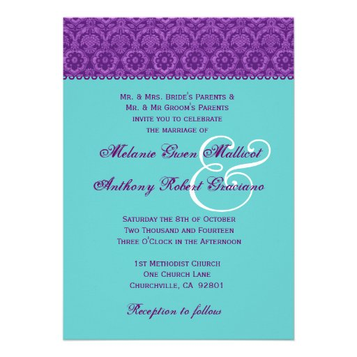 Purple and Aqua Vintage  Damask Wedding Monogram Invite