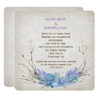 purple and aqua wedding twig bouquet on texture card