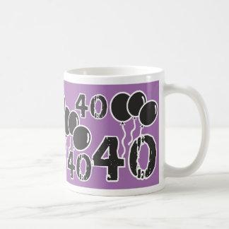 PURPLE and BLACK 40th Birthday - 40 yrs old Bday Coffee Mug
