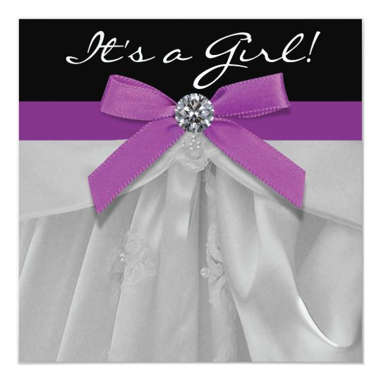 Purple and Black Baby Girl Shower Card