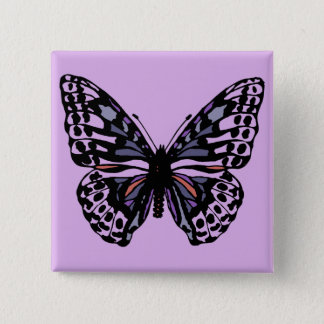 Purple and Black Butterfly 15 Cm Square Badge