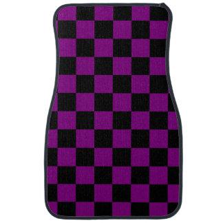 Purple and Black Checkerboard Pattern Car Mat