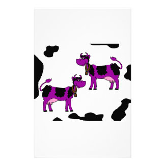 Purple And Black Cow Stationery