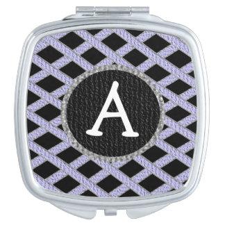 Purple and black crisscross monogram compact mirro travel mirrors