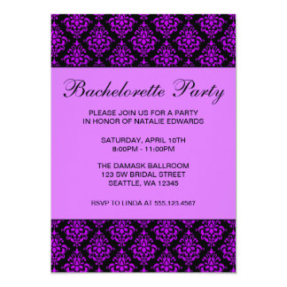 Purple and Black Damask Bachelorette Party Card