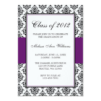 Purple and Black Damask Graduation Announcement