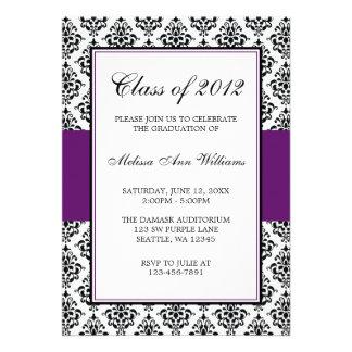 Purple and Black Damask Graduation Announcement