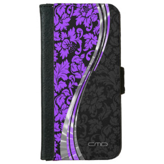 Purple And Black Damask iPhone 6 Wallet Case