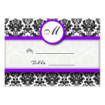 Purple and Black Damask Place Card Holder Pack Of Chubby Business Cards